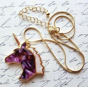 Gold & Purple Acetate Unicorn Pendant w/Chain